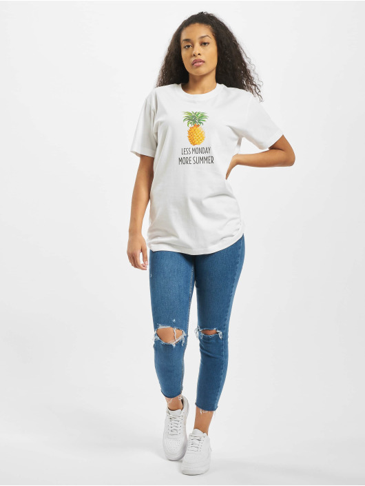 Mister Tee T-Shirt Ladies Less Monday white
