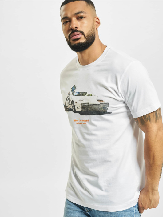 Mister Tee T-Shirt Weekend Wolf white