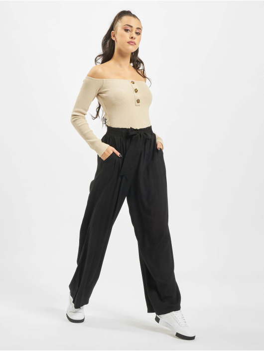 NA-KD Chino pants High Waist Front Knot black