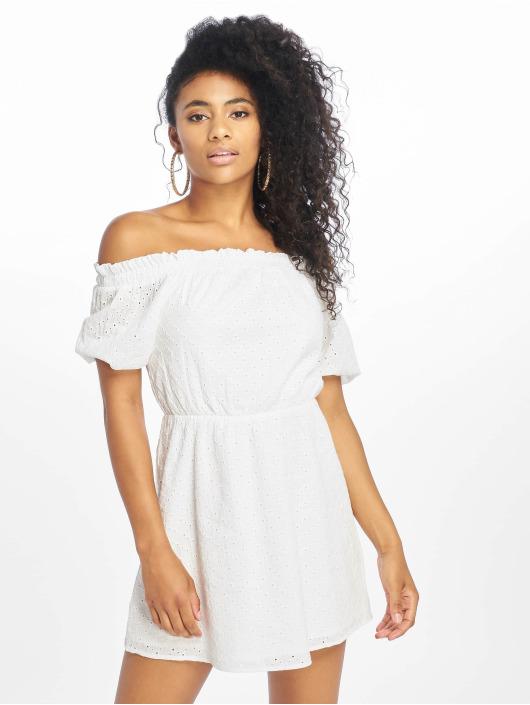 NA-KD Dress Off Shoulder Puffy Sleeve white