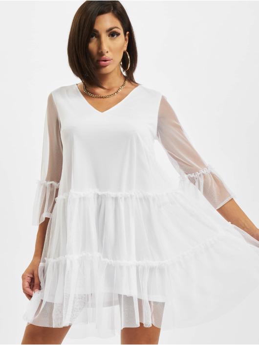 NA-KD Dress Ruffle Mesh white