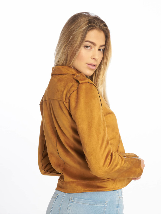 NA-KD Leather Jacket Fake Suede brown