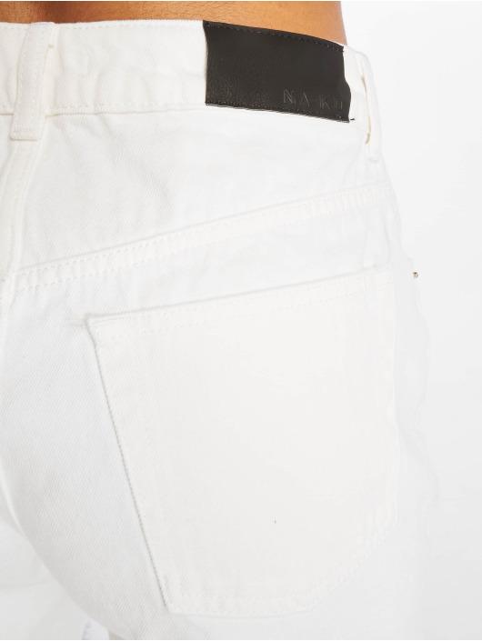 NA-KD Short Raw Hem High Waist Denim white