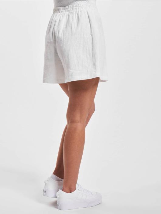 NA-KD Short Elastic Waist Linen Look white