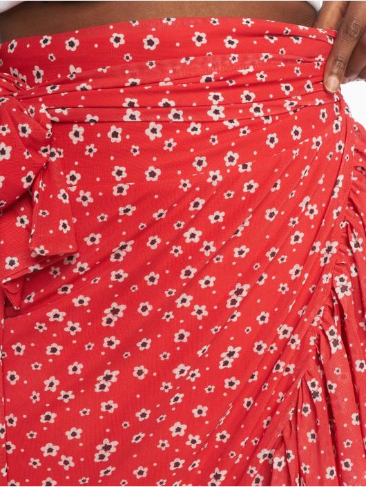 NA-KD Skirt Mesh Overlap red