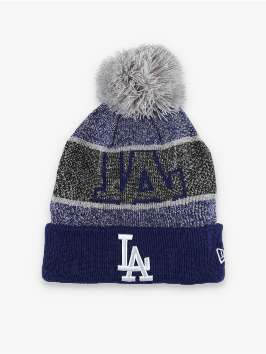 New Era Winter Hat MLB LA Dodgers Logo Peek Knit blue