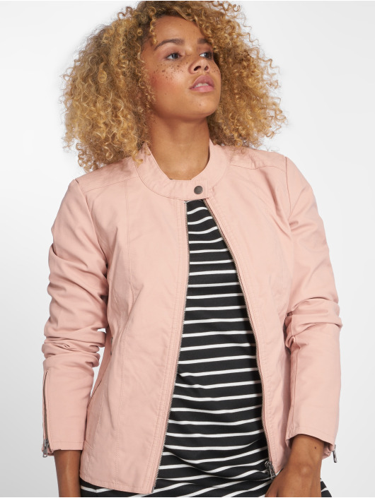 Only Leather Jacket onlSaga Faux Leather rose