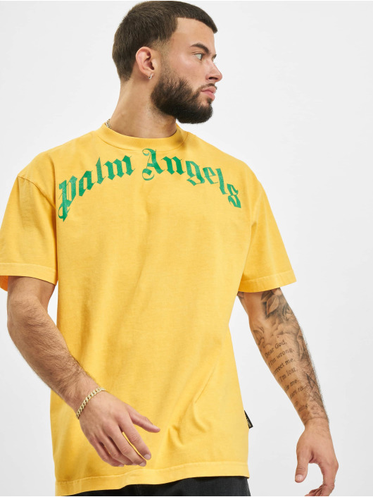 Palm Angels T-Shirt Vintage Wash Curved Logo yellow