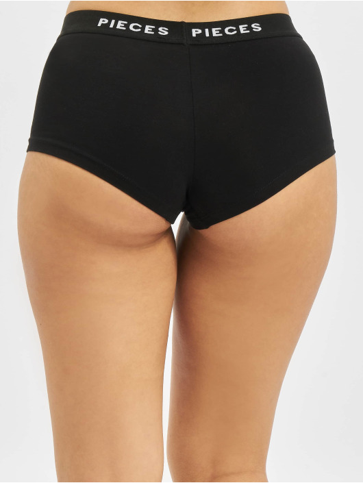 Pieces Underwear pcLogo Lady 4 Pack Solid Noos black