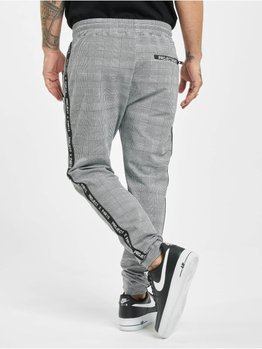 Project X Paris Sweat Pant Logo Zip Check Pattern black