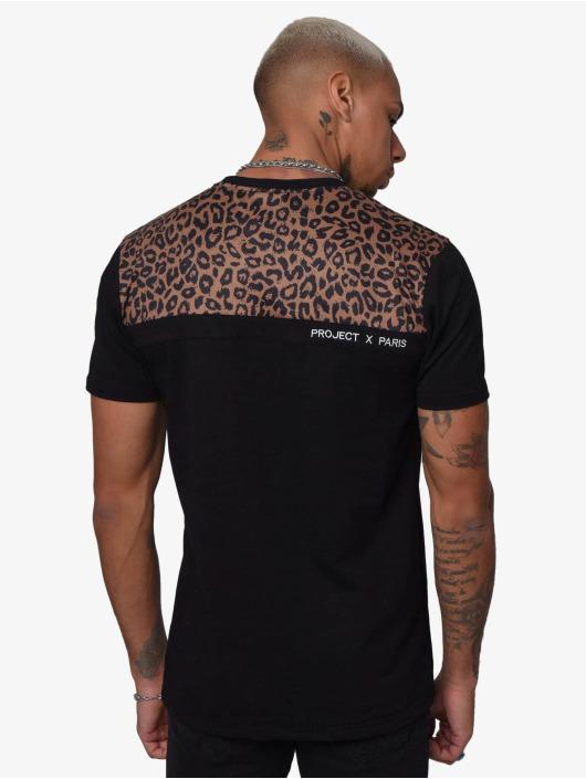 Project X Paris T-Shirt Leopard Print Panels black