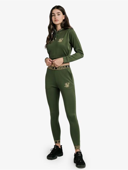Sik Silk Hoodie Taped Cropped green