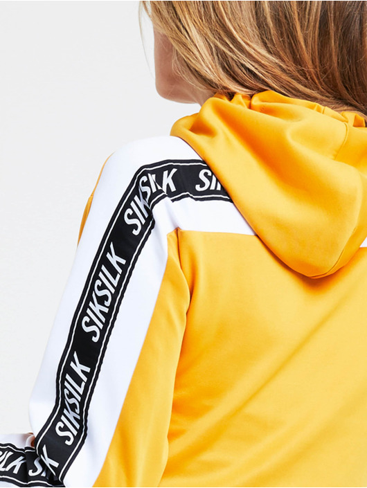 Sik Silk Hoodie Cropped 90s Panel yellow