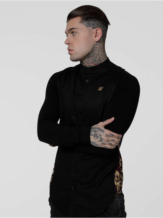 Sik Silk Shirt Royal Venetian Muscle Fit Slide black