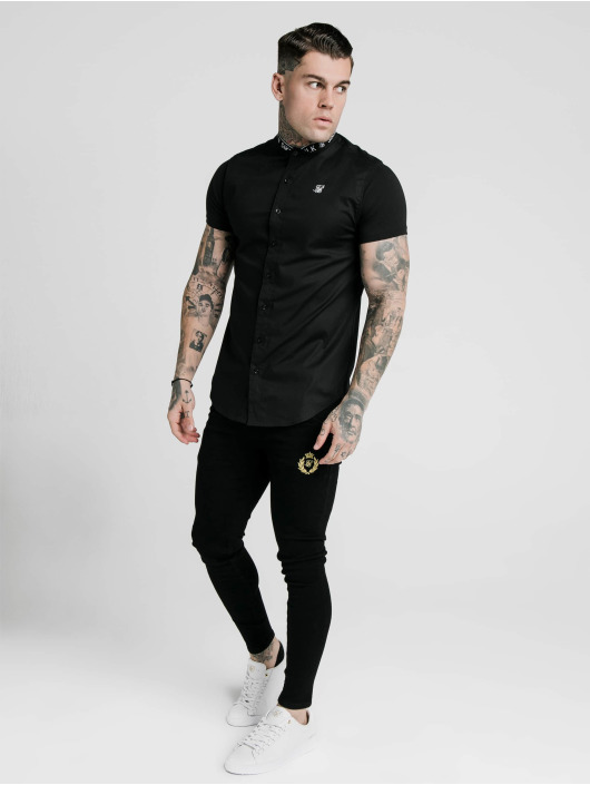 Sik Silk Shirt Tape Collar black