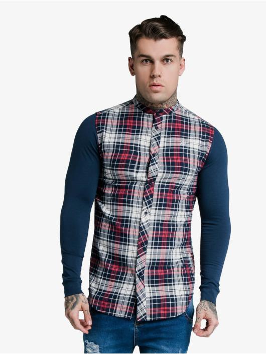 Sik Silk Shirt Flannel Check Grandad blue