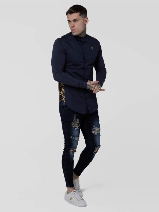Sik Silk Skinny Jeans Low Rise Distressed blue