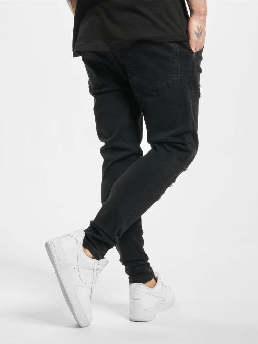 Sik Silk Slim Fit Jeans Oil Patch black