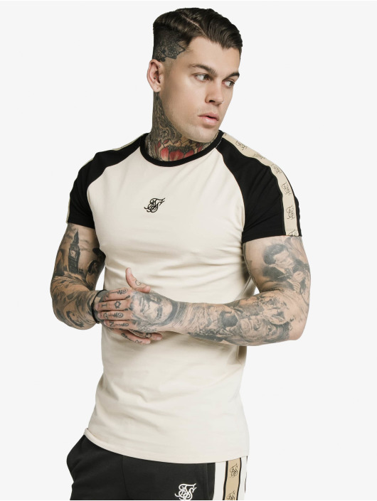 Sik Silk T-Shirt Raglan Premium Tape Gym beige