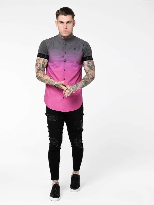 Sik Silk T-Shirt S/S Fade Out Grandad Collar Tech gray