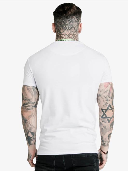 Sik Silk T-Shirt Straight Hem Tape Collar Gym white
