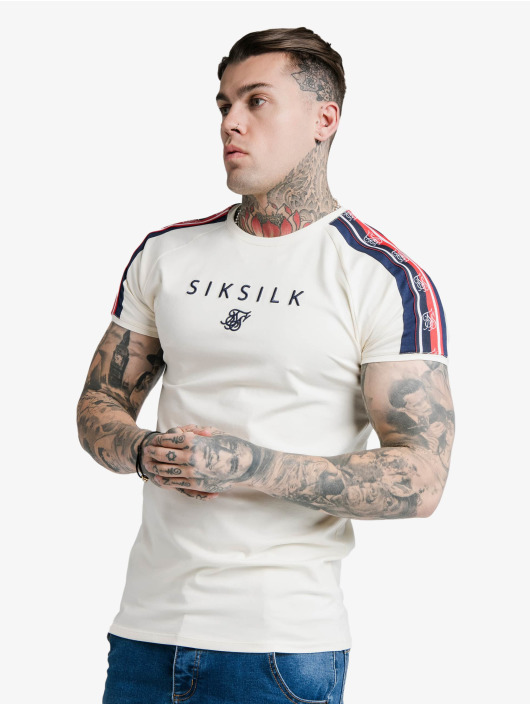 Sik Silk T-Shirt S/S Raglan Retro Tape Gym white