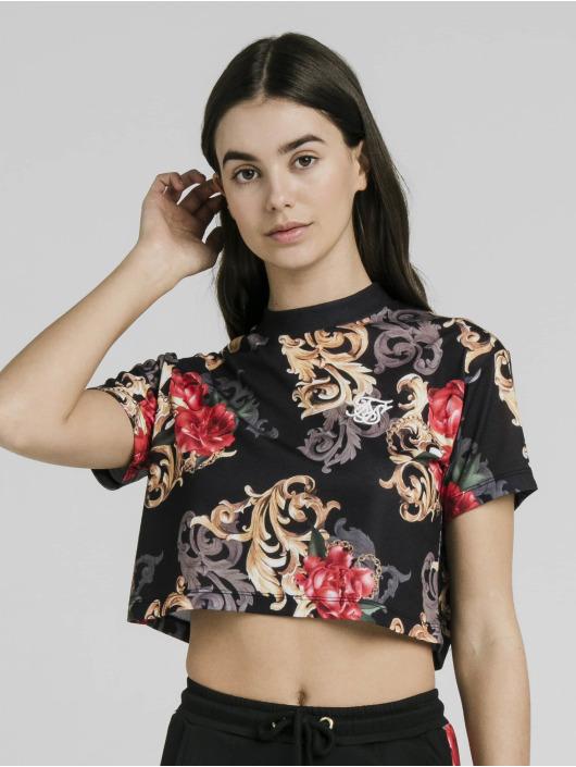 Sik Silk Top Floral Elegance Crop black