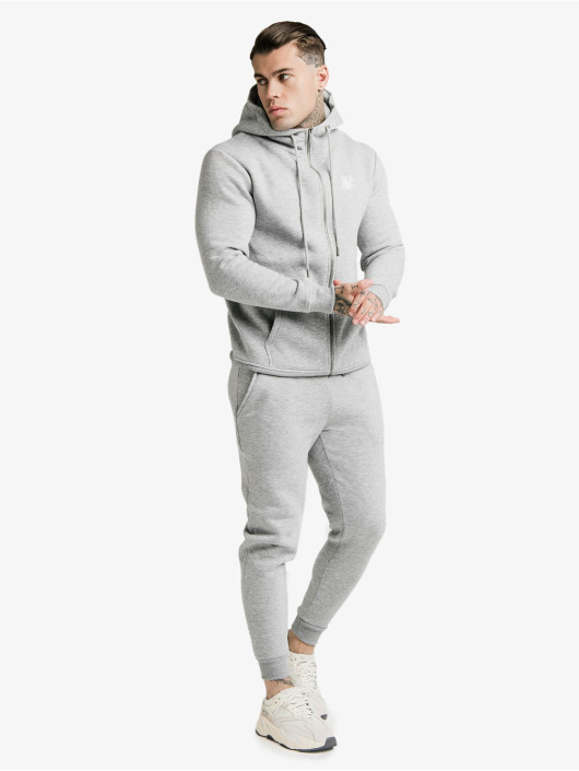 Sik Silk Zip Hoodie Zip Through Funnel Neck gray