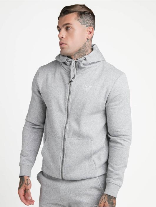 Sik Silk Zip Hoodie Zip Through Funnel Neck gray