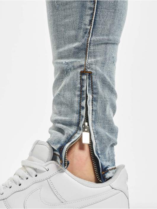 Sixth June Skinny Jeans Denim With Zip And Light Destr blue