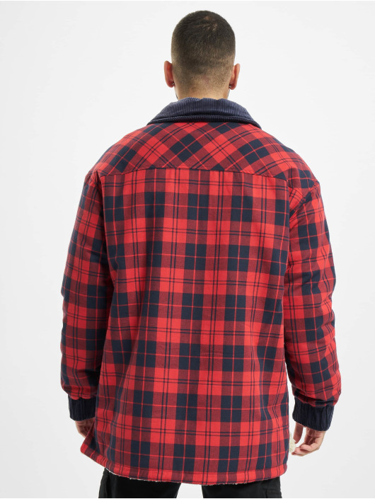 Southpole Lightweight Jacket Check Flannel Sherpa red