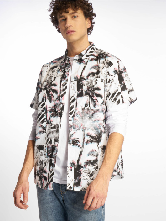 Southpole Shirt Palm Tree Box Print white