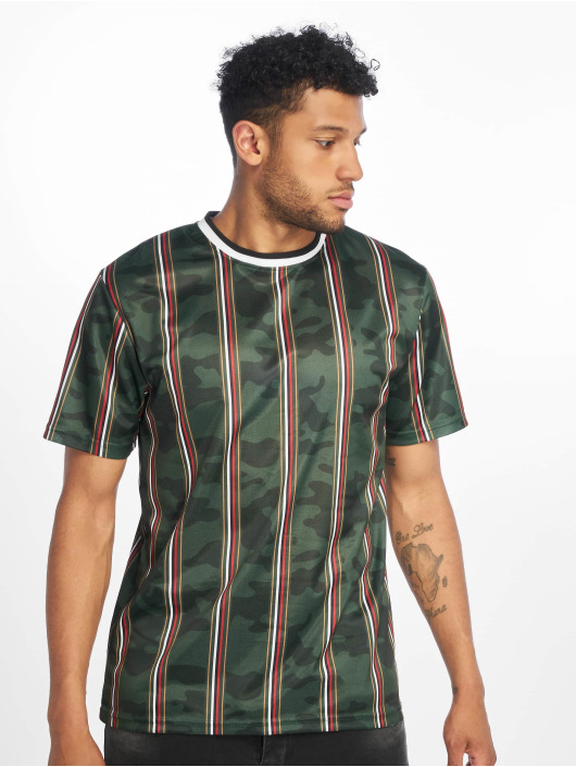 Southpole T-Shirt Thin Vertical Stripes green