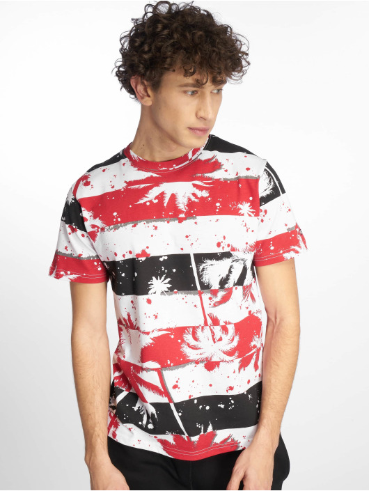 Southpole T-Shirt Palm Tree Stipe Print red