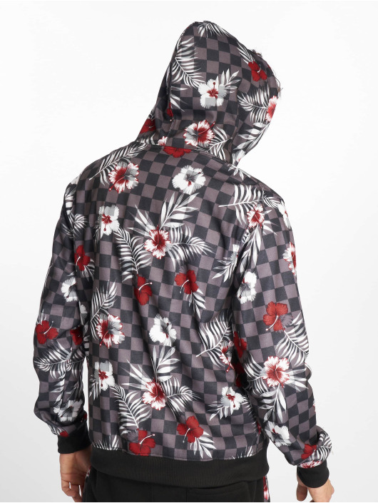 Southpole Zip Hoodie Floral Checker Fleece colored