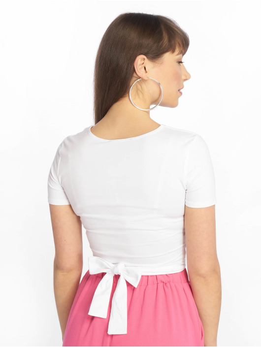 Tally Weijl T-Shirt Lace Up Knitted white
