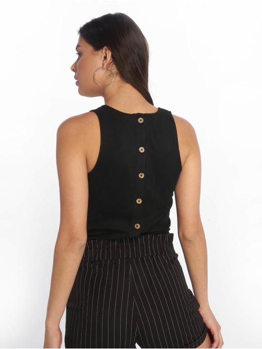 Tally Weijl Top Back Buttons Suede black
