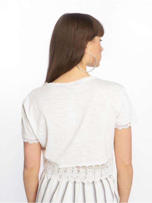 Tally Weijl Top Crochet Trim Slub white