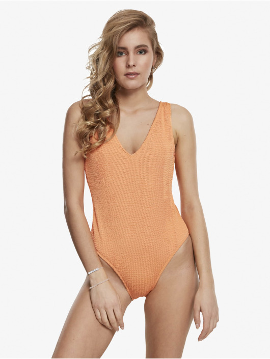 Urban Classics Bathing Suit Crinkle High Leg orange