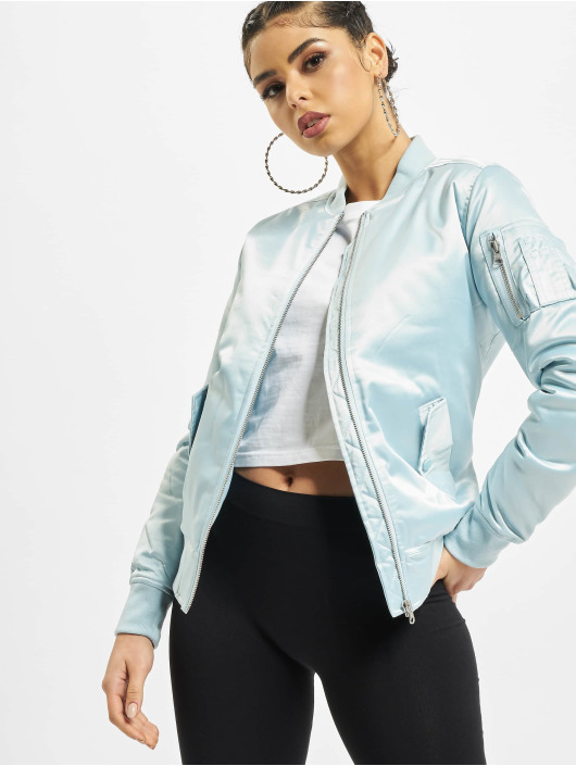 Urban Classics Bomber jacket Ladies Satin blue