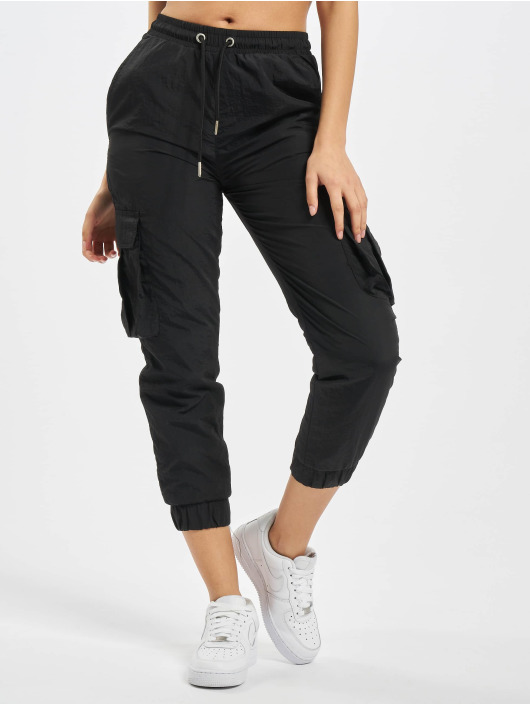 Urban Classics Cargo pants Ladies High Waist Crinkle Nylon black