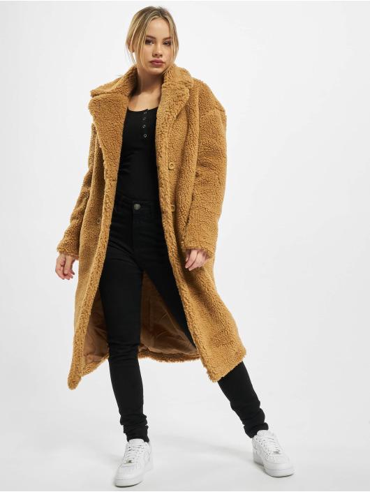 Urban Classics Coats Ladies Oversized Teddy brown