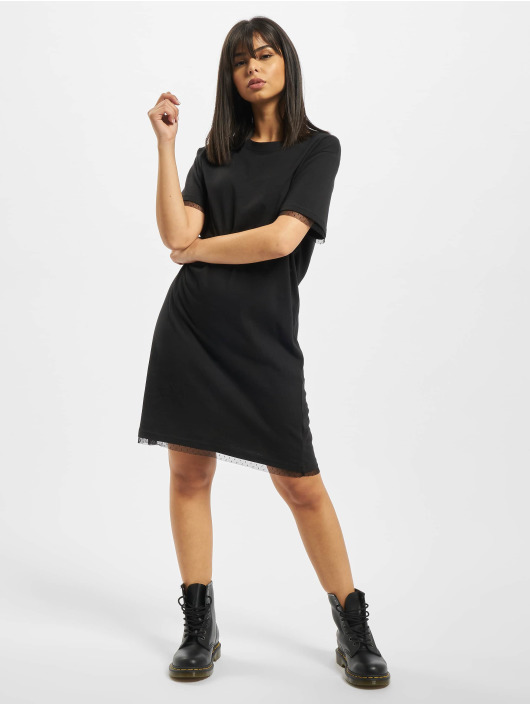 Urban Classics Dress Ladies Boxy Lace Hem black