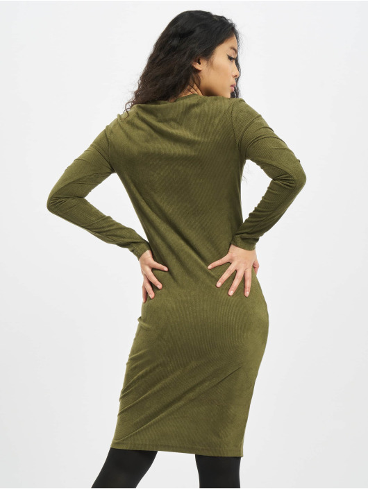 Urban Classics Dress Ladies Peached Rib LS olive