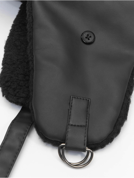 Urban Classics Hat Imitation Leather Trapper black