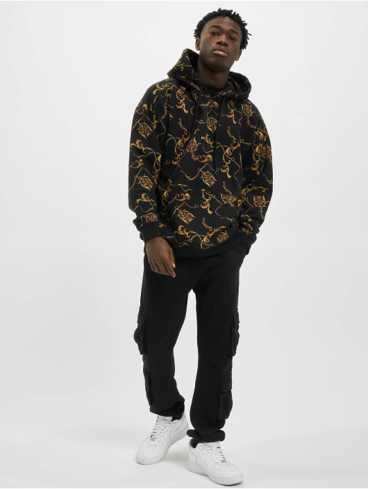 Urban Classics Hoodie AOP Luxury Print Oversized black
