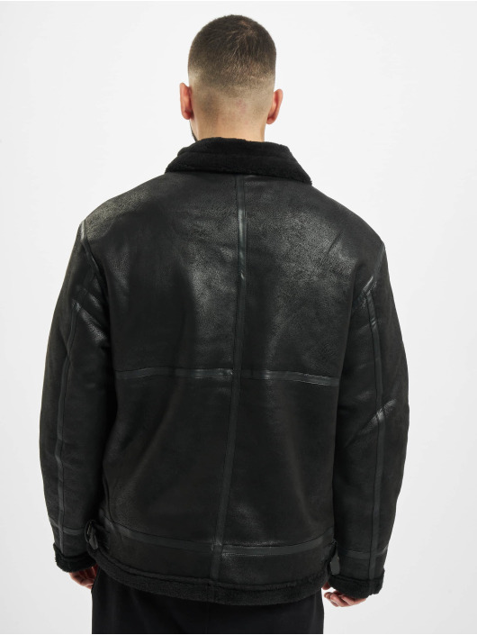 Urban Classics Leather Jacket Shearling black