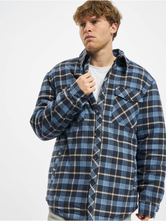 Urban Classics Lightweight Jacket Plaid Quilted blue