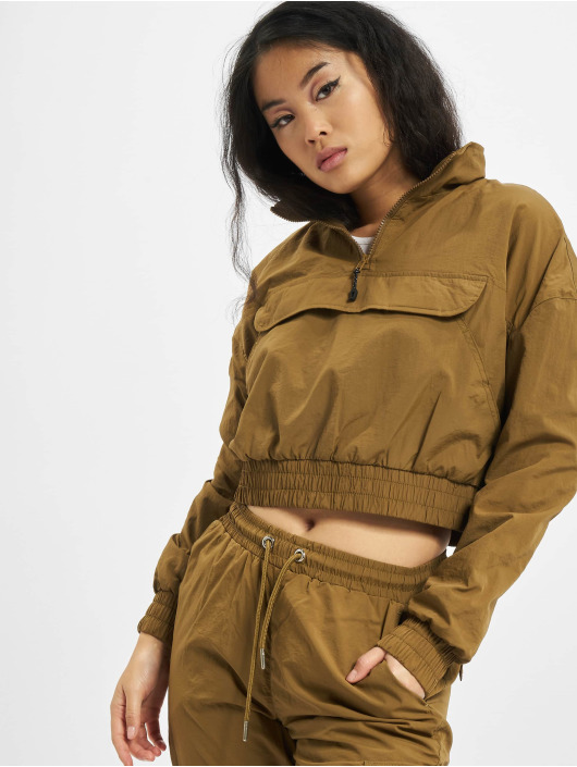 Urban Classics Lightweight Jacket Ladies Cropped Crinkle Nylon Pull Over brown