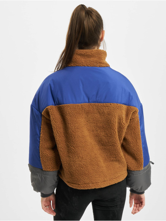 Urban Classics Lightweight Jacket Ladies Sherpa 3-Tone Pull Over brown